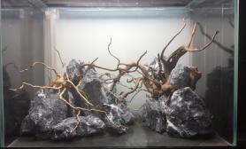 80CM45*60 石木组合沉木杜鹃根青龙石水草泥