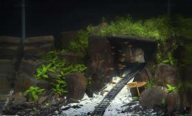 【玩转造景】水中的铁路隧道水草缸驶来托马斯?